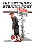 """Slow, School Ahead,"" Saturday Evening Post Cover, September 5, 1925 Giclee Print by George Brehm"