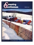 """Snowy Farm Scene,"" Country Gentleman Cover, February 1, 1949 Giclee Print by Caroloa Rust"