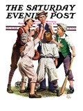 """Arguing the Call,"" Saturday Evening Post Cover, August 30, 1930 Giclee Print by Alan Foster"