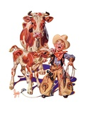 """""""Little Cowboy Takes a Licking,""""August 20, 1938 Giclee Print by J.C. Leyendecker"""