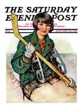 """Girl Hockey Player,"" Saturday Evening Post Cover, January 22, 1927 Giclée-Druck von Ellen Pyle"
