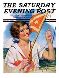 &quot;Woman with Signal Flag,&quot; Saturday Evening Post Cover, July 7, 1928 Giclee Print by Bradshaw Crandall