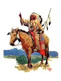 """Indian Chief on Horseback,""August 22, 1936 Giclee Print by Charles Hargens"