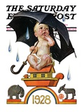 """Raining on Baby New Year,"" Saturday Evening Post Cover, December 31, 1927 Giclee Print by J.C. Leyendecker"