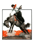 """Woman on Bucking Bronco,""April 19, 1924 Giclee Print by Frank Hoffman"