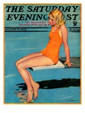 """Sitting on the Diving Board,"" Saturday Evening Post Cover, August 19, 1933 Giclee Print by Penrhyn Stanlaws"