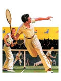 """Doubles Tennis Match,""September 5, 1936 Giclee Print by Maurice Bower"