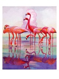 """Pink Flamingos,""January 29, 1938 Giclee Print by Francis Lee Jaques"