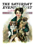 """Pugs in Lap,"" Saturday Evening Post Cover, November 9, 1929 Giclee Print by Ellen Pyle"