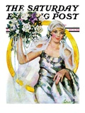 &quot;Bride and Bouquet,&quot; Saturday Evening Post Cover, October 13, 1928 Giclee Print by Ellen Pyle