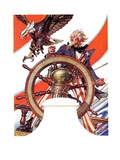 """""""Uncle Sam at the Helm,""""July 4, 1936 Giclee Print by Joseph Christian Leyendecker"""
