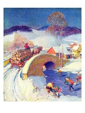 """Winter in the Village,""January 1, 1944 Impression giclée par Henry Soulen"