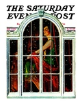 """Snowy Night,"" Saturday Evening Post Cover, January 5, 1929 Giclee Print by Elbert Mcgran Jackson"