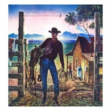 """Cowboy at End of the Day,""June 1, 1947 Giclee Print by Peter Hurd"