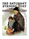 """Waiting for the Bus,"" Saturday Evening Post Cover, December 13, 1930 Giclee Print by Ellen Pyle"