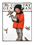 """Little Girl Feeding Birds,"" Country Gentleman Cover, January 31, 1925 Giclee Print by Sarah Stilwell Weber"