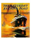 """Freighter,"" Saturday Evening Post Cover, December 14, 1935 Reproduction procédé giclée par Edgar Franklin Wittmack"