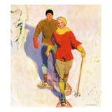 """Couple Wearing Snowshoes,""February 1, 1930 Giclee Print by McClelland Barclay"