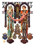 """""""Henry V and His French Bride,"""" Saturday Evening Post Cover, July 26, 1930 Giclee Print by J.C. Leyendecker"""
