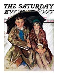 """Couple in Rain,"" Saturday Evening Post Cover, October 4, 1930 Giclee Print by Ellen Pyle"