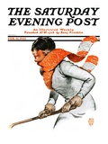 """Women's Ice Hockey,"" Saturday Evening Post Cover, February 21, 1925 Giclee Print by James Calvert Smith"