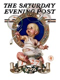 """Blowing Bubbles,"" Saturday Evening Post Cover, January 1, 1927 Giclee Print by J.C. Leyendecker"