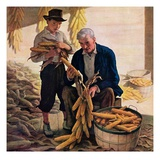 """Drying Field Corn,""November 1, 1944 Giclee Print by N.C. Wyeth"