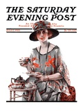 """Teatime,"" Saturday Evening Post Cover, July 7, 1923 Giclee Print by Pearl L. Hill"