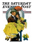 """April Shower,"" Saturday Evening Post Cover, April 23, 1927 Giclee Print by Elbert Mcgran Jackson"