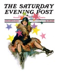 &quot;A Fall from Skates,&quot; Saturday Evening Post Cover, January 11, 1930 Giclee Print by John LaGatta