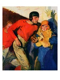 """Football Player and Fan,""October 1, 1926 Giclee Print by McClelland Barclay"