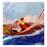 """Couple Sailing,""July 1, 1937 Giclee Print by R.J. Cavaliere"