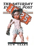 """Industrial New Years Baby with License Plate,"" Saturday Evening Post Cover, January 3, 1925 Giclee Print by Joseph Christian Leyendecker"