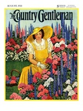 """Cutting Flowers from Her Garden,"" Country Gentleman Cover, August 1, 1933 Giclee Print by Carolyn Haywood"