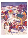 """Christmas in Town,""December 1, 1940 Giclee Print by Henry Soulen"