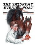 """Boy Feedy Apple to Horses,"" Saturday Evening Post Cover, July 14, 1923 Giclee Print by Leslie Thrasher"