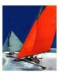 """Iceboats Racing,""February 18, 1939 Giclee Print by Ski Weld"