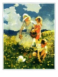 """Family in Field of Buttercups,""June 1, 1929 Giclee Print by Haddon Sundblom"
