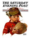 &quot;Inflating Football,&quot; Saturday Evening Post Cover, October 16, 1926 Giclee Print by Harrison Mccreary