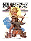 """Forging a New Year,"" Saturday Evening Post Cover, December 27, 1930 Giclee Print by J.C. Leyendecker"