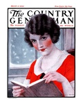 """Woman Reading Book,"" Country Gentleman Cover, March 21, 1925 Giclee Print by J. Knowles Hare"