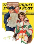 """Reading Her Mail,"" Saturday Evening Post Cover, February 22, 1936 Giclee Print by Ellen Pyle"