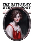&quot;Oval Portrait,&quot; Saturday Evening Post Cover, January 24, 1925 Giclee Print by Tom Webb