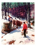 """Harvesting Maple Sap,""March 1, 1940 Giclee Print by B. Summers"
