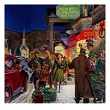 """Main Street at Christmas,""December 1, 1944 Giclee Print by Peter Helck"