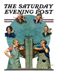 """Party Line,"" Saturday Evening Post Cover, March 17, 1928 Giclee Print by Lawrence Toney"