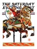 """Carousel Ride,"" Saturday Evening Post Cover, September 6, 1930 Giclee Print by J.C. Leyendecker"