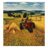"""Wheat Harvest,""July 1, 1945 Giclee Print by F.P. Sherry"
