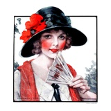 &quot;Woman with Fan,&quot;August 1, 1925 Giclee Print by J. Knowles Hare