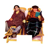 """Two Men in Deck Chairs,""January 16, 1937 Giclee Print by Leslie Thrasher"